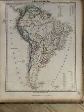 1854 SOUTH AMERICA ORIGINAL ANTIQUE HAND COLOURED MAP BY CARL FLEMMING