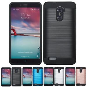 For ZTE ZMAX Pro / Blade X Max Shockproof Hybrid Hard Brushed Case Phone Cover