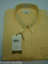 Cutter & Buck Mens Yellow Button Down LS Wrinkle Resistant Dress Shirt Size XL