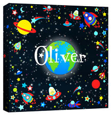 Personalised Space Boys Name Galaxy Planet Star Alien - Canvas Art Print Picture