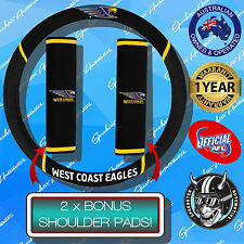 WEST COAST EAGLES CAR STEERING WHEEL COVER + SEAT BELT COVERS, OFFICIALS AFL!