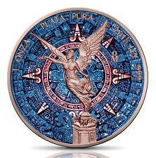 BLUE AZTEC CALENDAR 1 Oz Silver & Rose Gold plated Libertad coin Mexico 2018