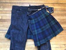 Dsquared² Runway Black Green Plaid Wool Kilt Accent Skater Denim Jeans S 50 34