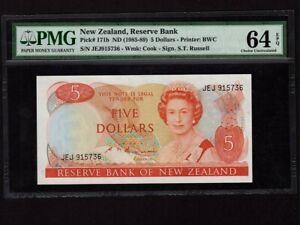 New Zealand:P-171b,5 Dollars 1985-89 * Queen Elisabeth II * PMG Ch. UNC 64 EPQ *
