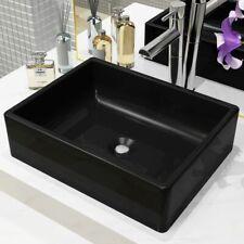 vidaXL Basin Ceramic Rectangular Black 41x30x12cm Bathroom Countertop Sink