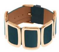 BRONZO ITALIA AVERAGE CUSHION STATION ROSE BRONZE TEAL LEATHER BUCKLE BRACELET