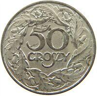 POLAND 50 GROSZY 1938 #s16 303