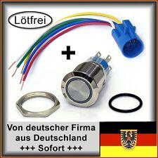 22mm Drucktaster m.Fassung LED blau Klingelknopf Hupe Edelstahl IP67