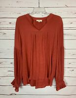 Entro Boutique Women's L Large Rust Long Sleeve Peasant Spring Top Blouse Shirt