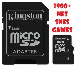 SD Card 8GB With 2900+ classic NES and SNES Games for your console + Adapter