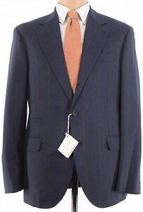 Brunello Cucinelli NWT Suit Sz 52 42R Dark Blue W/ Wide Orange Stripe Flannel