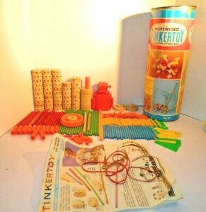 Vintage Tinkertoy Construction Set Motorized # 177 by Questor with Canister