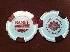 "Harley Davidson Poker Chip (Teal Blue & Black) ""Banff"" Alberta, Canada"