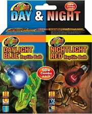 Zoo Med Daylight Blue & Nightlight Red Reptile Lamp, Combo Pack  (Free shipping)