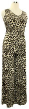 ATTITUDES by Renee size M Tall cheetah print sleeveless Vneck wide leg jumpsuit