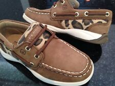 New Sperry Intrepid  Brown/Leopard boat/deck YOUTH Size 10.5