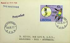 LIBERIA 1977 HIGH SEAS POSTED SCARCE PAQUEBOT OLYMPIC COVER TO AUSTRALIA