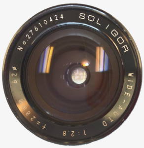 Soligor Camera Lens Wide Auto 1:2.8 / f = 28 mm Lens with UV Filter Model Japan