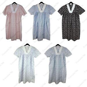 Ladies Women Printed Poly Cotton Short Sleeve Nightdress UK Size 10-32