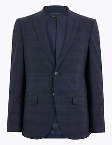 M&S Men Blue Slim Fit Checked Jacke / tBlazer Sz 38, 40, rrp: £70, new