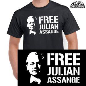 Free Julian Assange Wikileaks Political Media Tee T Shirt 100% Cotton Men Women