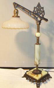 Antique Art Deco Cast Iron Table Top Bridge Lamp Jadite Houze Glass Restored