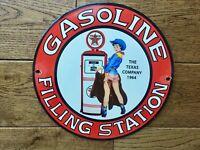 "Vintage Texaco Gasoline Heavy Porcelain Sign 10"" Gas & Oil Sign"