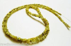 "10 cts 1.5-2.5mm Natural Yellow Raw Diamond beads, rough diamond beads 8"" inc"