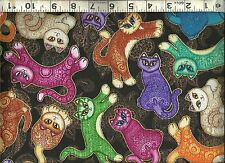Quilting Treasures ~ Bright Jewel Tone Cats Gold ~ 100% Cotton Quilt Fabric BTY