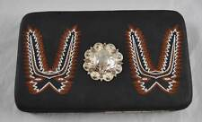 Boot Embroidered Trim Concho Rhinestone Wallet Checkbook Clutch Hard Case O4