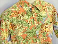 Hawaiian Shirt M Orange Green Tropical Floral Anthuriums Palms Matching Pocket