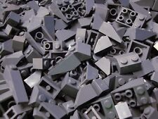 50 Lego Sloped Bricks DK. BLUISH GRAY SLOPES Roof Wedges Castle Parts Pieces Lot