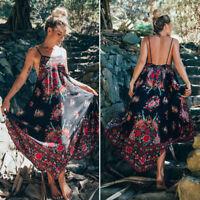 Women Retro Boho Chiffon Party Evening Beach Dresses Long Maxi Dress Sundress