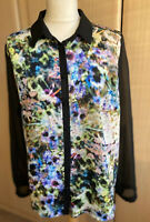 Pied-a-terre Designer Shirt/Blouse Multicoloured Smart Casual Long Sleeve UK 16
