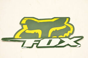 """Fox Racing Green And Yellow Decal 4.5""""x2"""". NOS"""