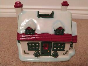 VINTAGE SPODE CHRISTMAS TREE COTTAGE HOUSE CANDLE TEALIGHT HOLDER