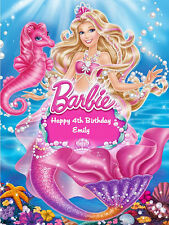 BARBIE MERMAID PERSONALISED EDIBLE WAFER PAPER CAKE DECORATION IMAGE TOPPER