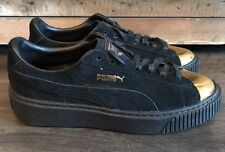 Women's Size 8 US Shoes Puma Platform SUEDE CREEPER Black GOLD Sneakers New