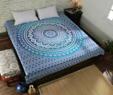 Mandala Sea Blue Color Print Tapestry Wall Hanging Decor QueenSize Bedspread