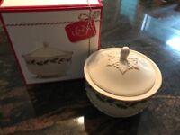 LENOX China Holiday Carved Treat Jar Brand New In Box