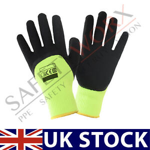 12 Pairs Winter Work Gloves Latex Coated Safety Grip Insulated Builders PPE