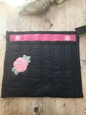 VINTAGE HAND MADE BESPOKE LINGERIE QUILTED ENVELOPE BAG BLACK & PINK