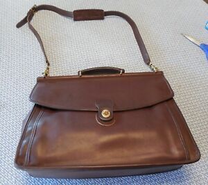 VINTAGE COACH BEEKMAN 5266 BROWN LEATHER BRIEFCASE MESSENGER BUSINESS BAG NICE!