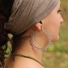 Silver Plated Goddess Large Tribal Circle Hoop Hook Earrings
