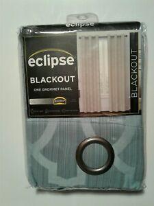 """Eclipse Blackout One Grommet Panel/Curtain  40 X 95"""" Hazel Geometric Harbor Blue"""