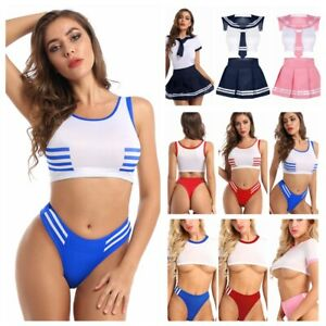Womens Japanese Schoolgirl Nightwear Bodysuit Crop Top Crotchless Briefs Outfit