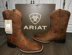 NEW Men's ARIAT Sport Wide Square Toe Brown Leather Cowboy Western Boots 13D