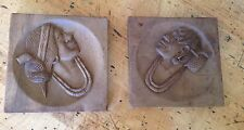 Two Vintage WOOD CARVED Panels Tribal polynesian?Woman Head with hair oraments