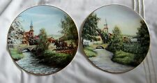 Rosewood 2 fine bone china plates Rural Scenes Summer & Spring  gold trimmed GC