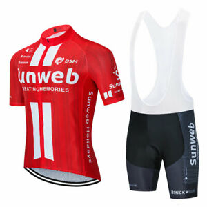2021 Red Men's Short Sleeve Cycling Jersey Bike Riding Bib Shorts Kits Clothing